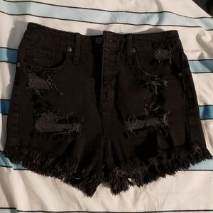 Black Denim High Waisted Destroyed Shorts